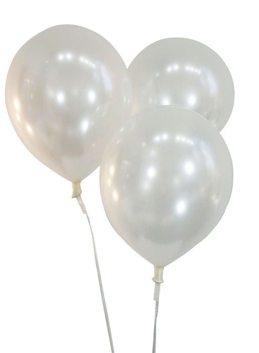 12 Inch Pearlized White Latex Balloons | 100 pc bag