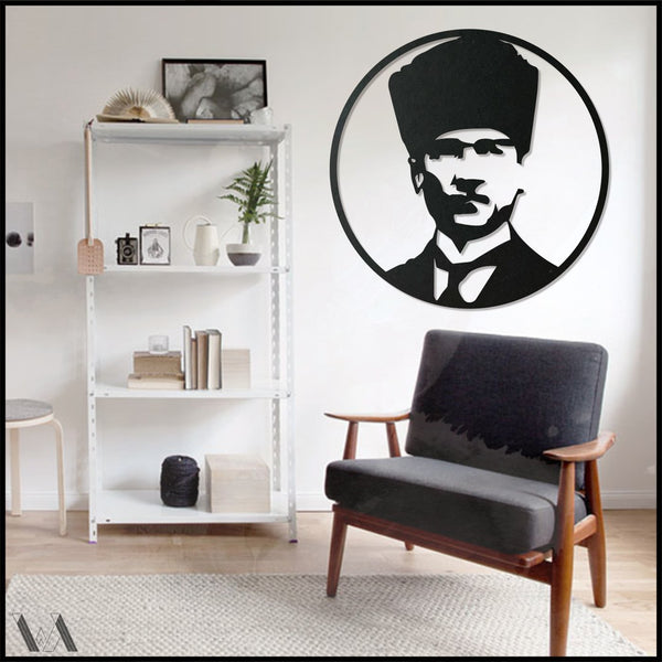 Ataturk v.1 - Black Metal Wall Art