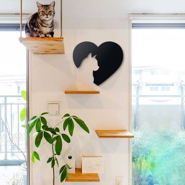 Cat Love Metal Wall Art - Black Metal Wall Art