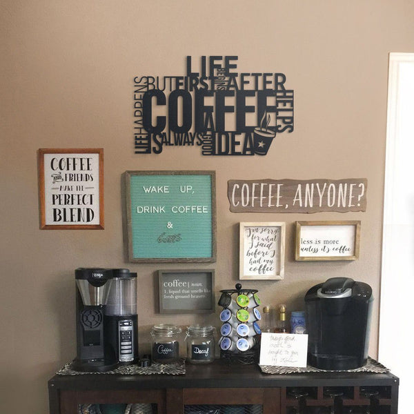 Coffee Metal Wall Art - Black Metal Wall Art