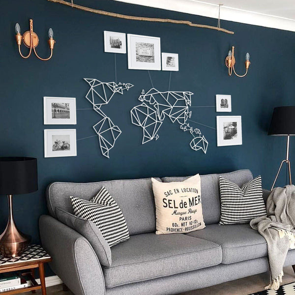 World Map White Metal Wall Art - Black Metal Wall Art