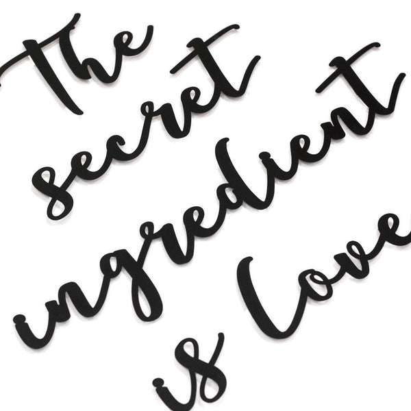 The Secret Ingredient Is Love Metal Wall Art - Black Metal Wall Art