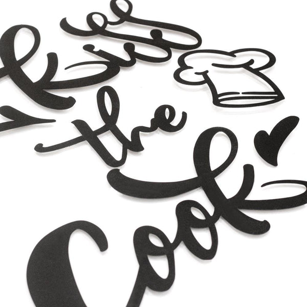 Kiss The Cook Metal Wall Art - Black Metal Wall Art