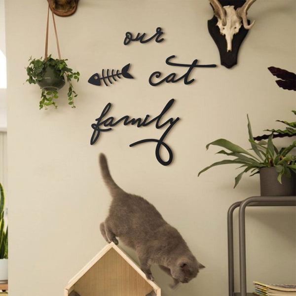 Our Cat & Dog Family Metal Wall Art - Black Metal Wall Art