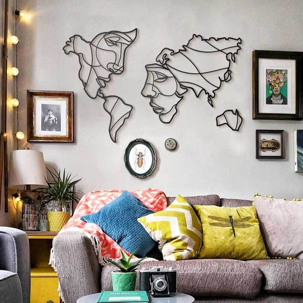 Faces of World Map Metal Wall Art - Black Metal Wall Art