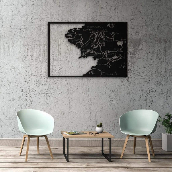 Middle Earth Metal Map Metal Wall Art - Black Metal Wall Art