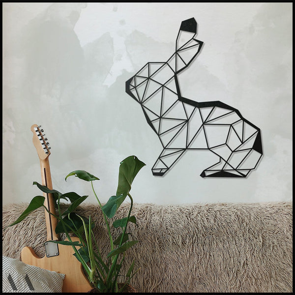 Rabbit - Black Metal Wall Art