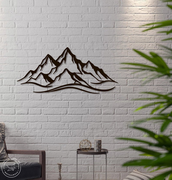 Mountains steel Home Decor interior Sign Scandi decor Idea Gift Living Room stencil hanging mountain range Metal Wall Art - Black Metal Wall Art