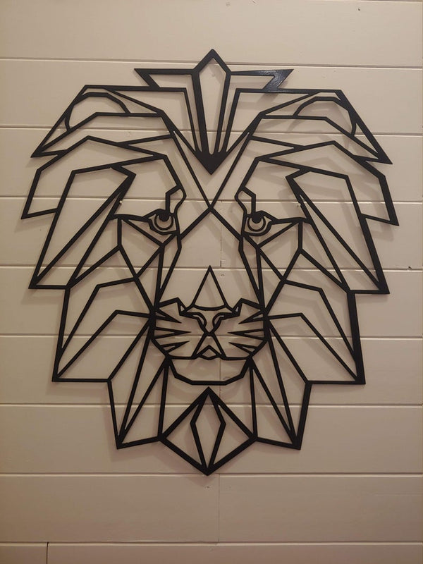 Lion Metal Geometric Contemporary African lion Metal Wall Art - Black Metal Wall Art