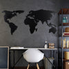 WORLD MAP SILHOUTTE BLACK - Black Metal Wall Art
