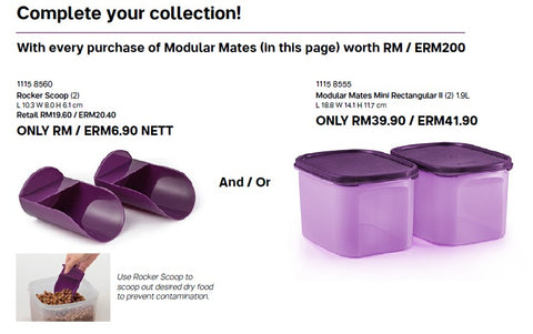 With every purchase of Modular Mates (in this page) worth RM / ERM200