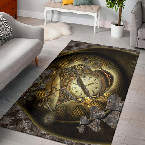 Awesome Steampunk Heart  Instrument Area Rug, Living Room Rug,  Halloween Gift
