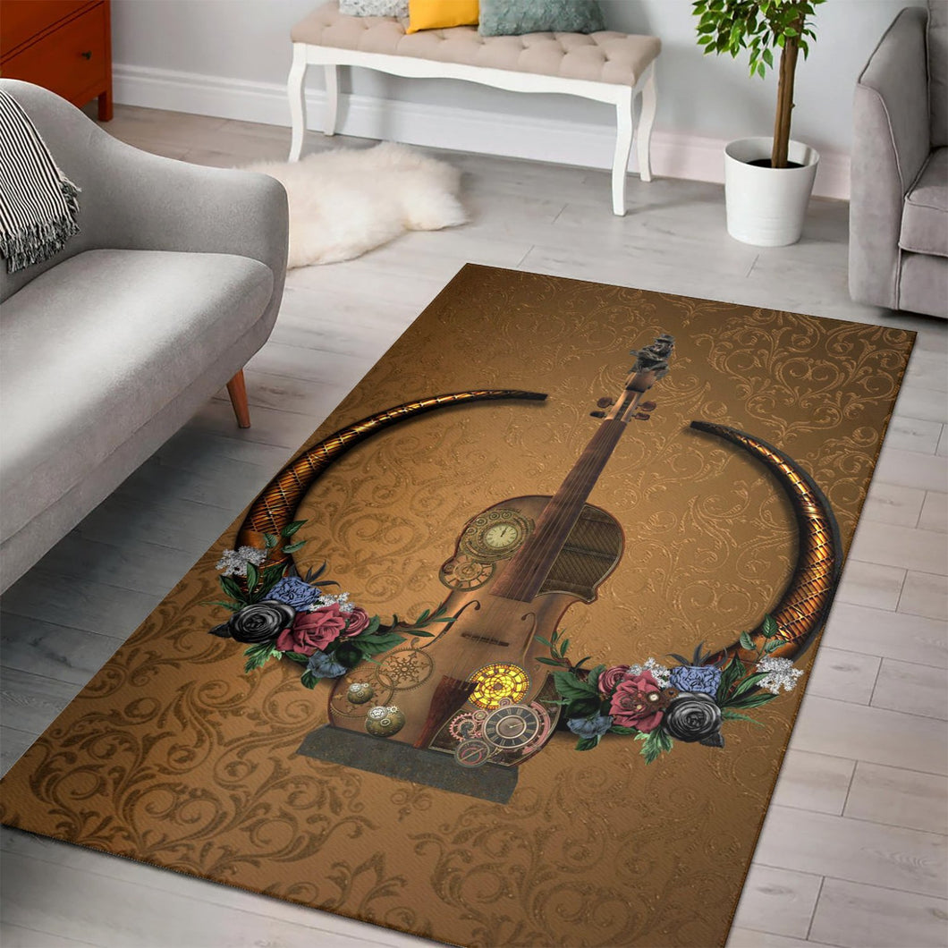 Awesome Steampunk Violin  Music Rug,  Gift for fans,  Floor Decor