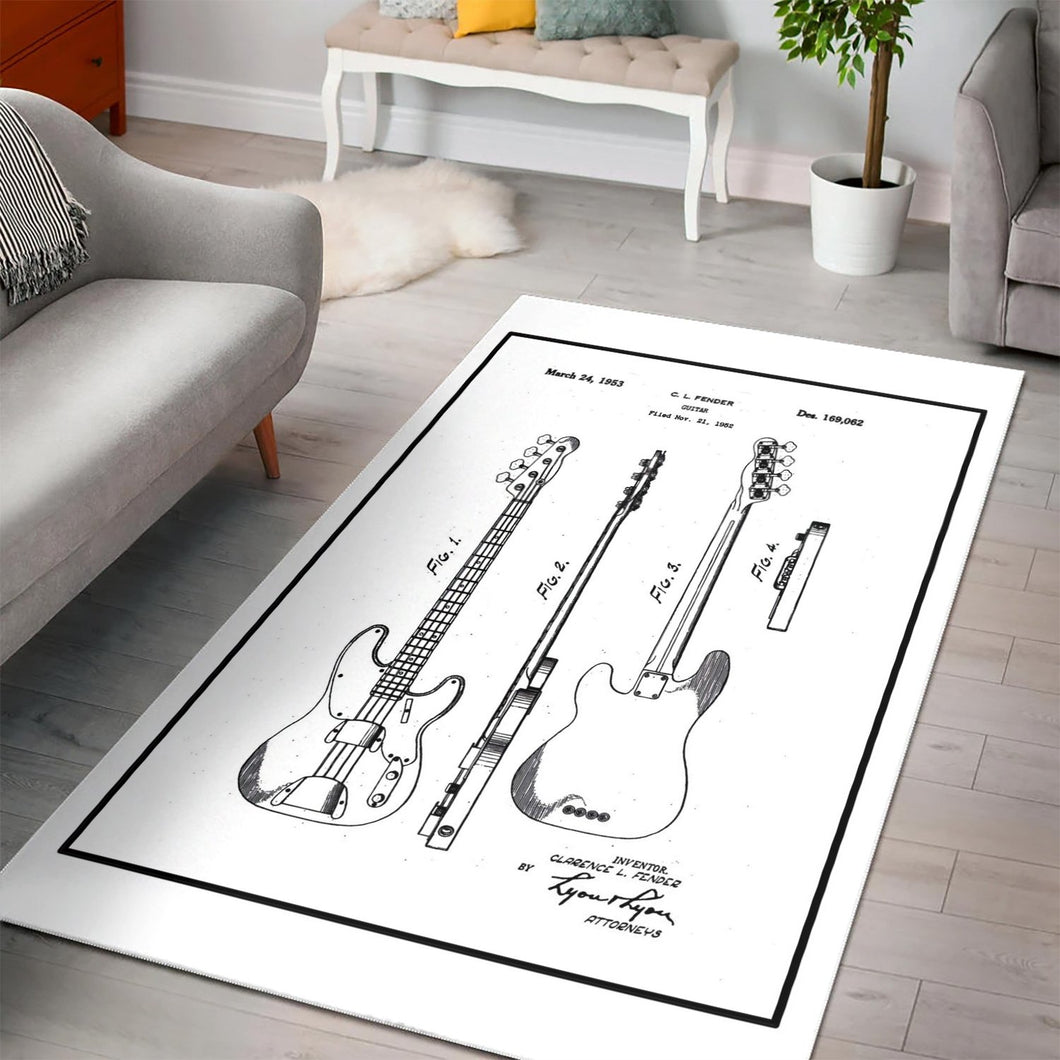 Fender Bass On White  Rug,  Living room and bedroom Rug,  Christmas Gift