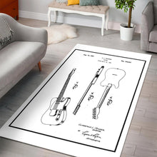 Load image into Gallery viewer, Fender Guitar On White  Rug, Living Room Rug, Home Decor