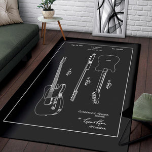 Fender Guitar  Printing Instrument Rug,  Bedroom,  Family Decor