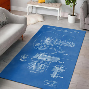 Fender Tremolo Sketch  Instrument Area Rug,  Living room and bedroom Rug,  Halloween Gift