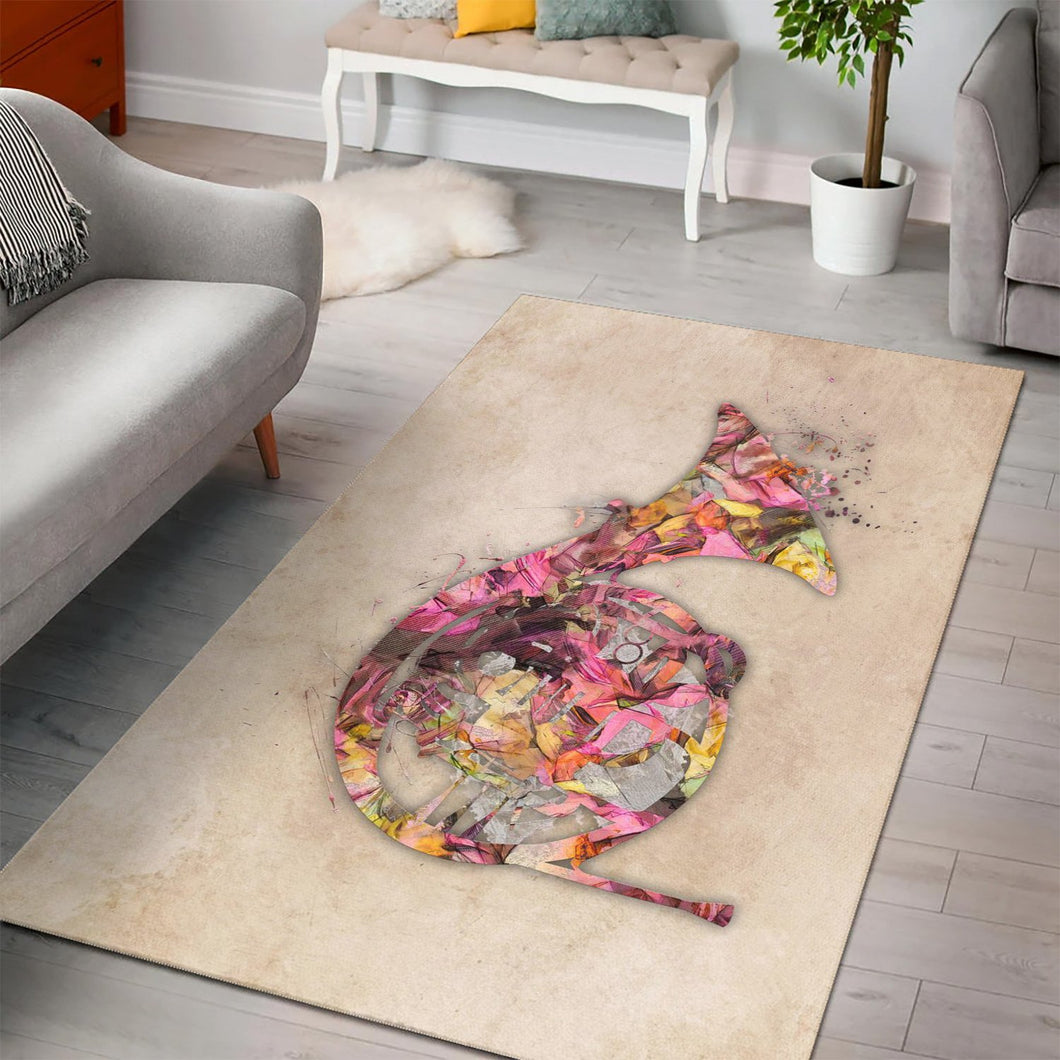 French Horn Music  Music Rug,  Bedroom, Home Decor
