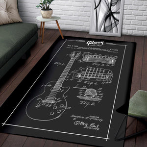 Gibson Les Paul Patent  Instrument Area Rug,  Living room and bedroom Rug,  Christmas Gift
