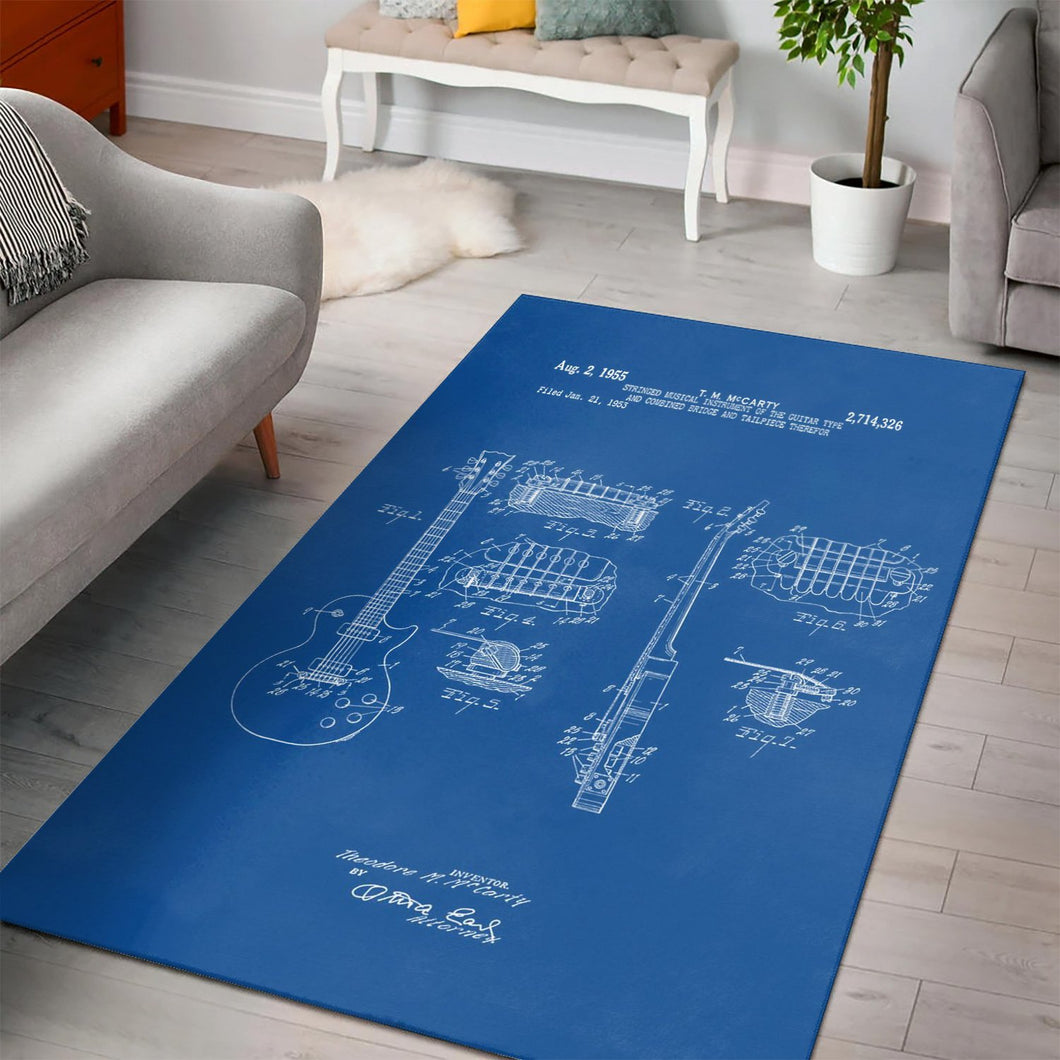 Gibson Les Paul  Printing Instrument Rug,  Kitchen Rug, Home Decor