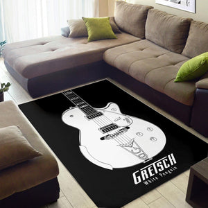 Gretsch White Penguin  Music Rug,  Bedroom, Home Decor