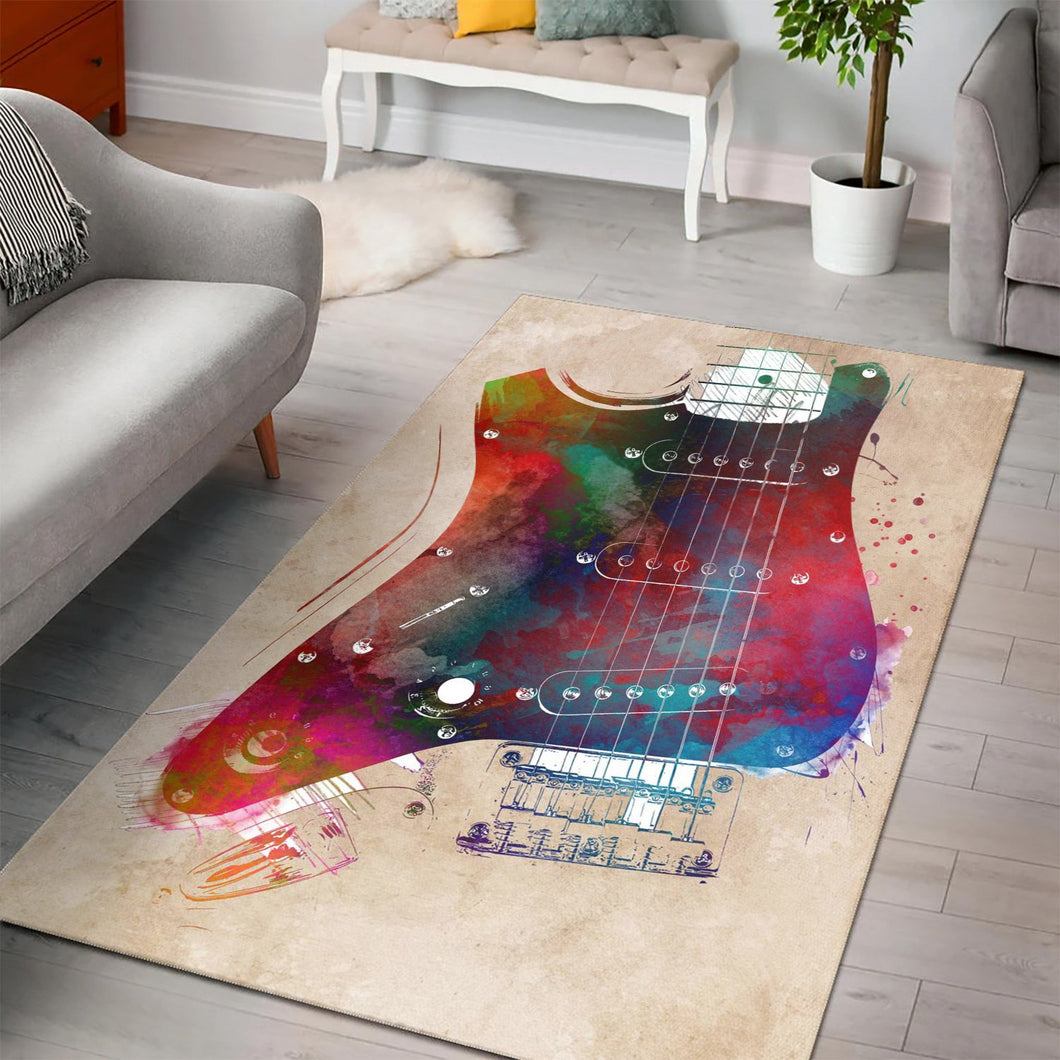 Guitar Art  Instrument Area Rug, Living Room Rug,  Halloween Gift