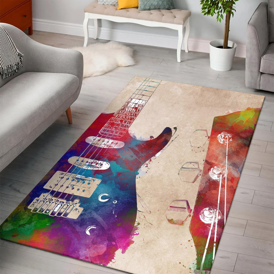 Guitar Art  Music Rug,  Living room and bedroom Rug, Home Decor