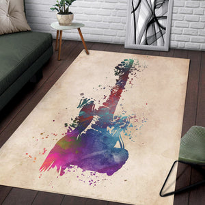 Guitar Blue Red  Instrument Area Rug,  Bedroom,  Family Decor