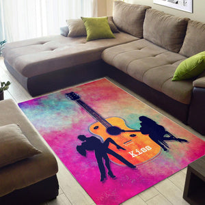 Guitar Kiss  Instrument Area Rug,  Gift for fans,  Family Decor