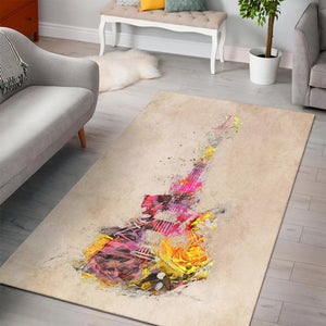 Guitar Yellow Art  Rug, Living Room Rug,  Halloween Gift