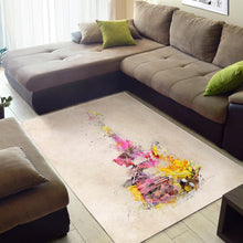 Load image into Gallery viewer, Guitar Yellow Art  Rug, Living Room Rug,  Halloween Gift