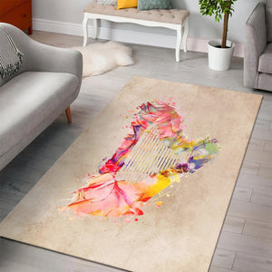 Harp Music Pastel Art  Area Rugs,  Kitchen Rug, Home Decor