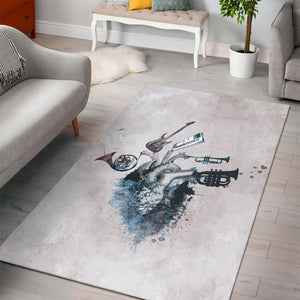 Music My Love Blue  Instrument Area Rug,  Bedroom,  Christmas Gift