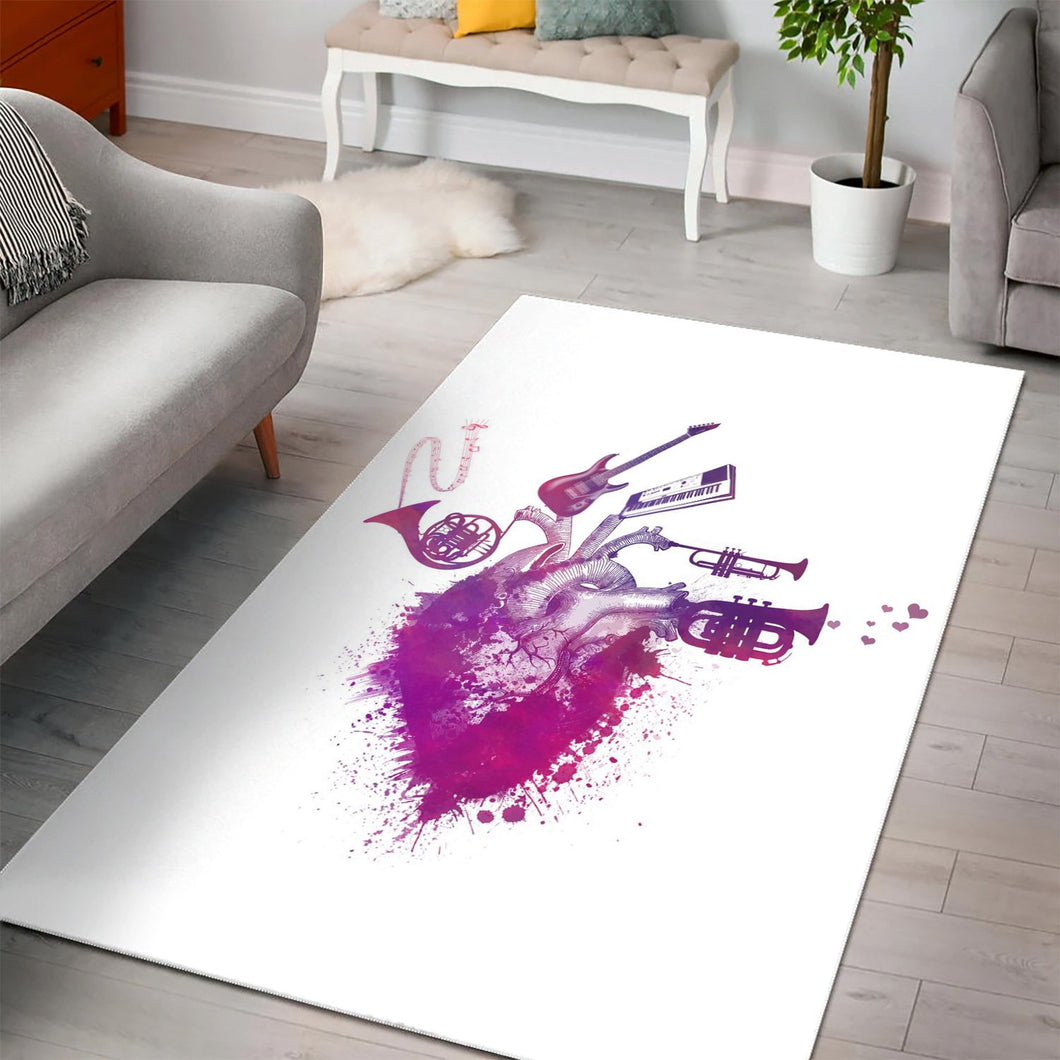 Music My Love Purple  Rug,  Living room and bedroom Rug, Home Decor