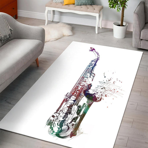 Saxophone Music Art  Music Rug,  Kitchen Rug, Home Decor