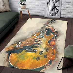 Slash S Electric Guitar  Instrument Area Rug,  Bedroom,  Christmas Gift