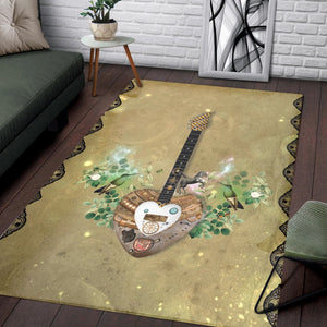 Steampunk Guitar  Printing Instrument Rug, Living Room Rug,  Floor Decor