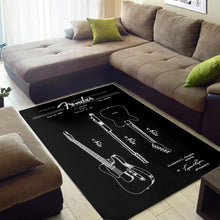 Load image into Gallery viewer, Telecaster Blueprint  Printing Instrument Rug,  Bedroom,  Floor Decor
