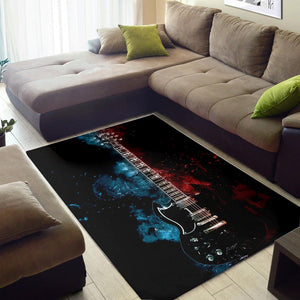 Tony Iommi Guitar  Instrument Area Rug,  Bedroom,  Family Decor
