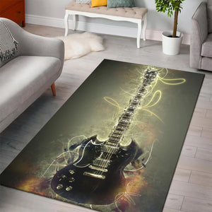 Tony Iommi Guitar  Instrument Area Rug,  Gift for fans,  Halloween Gift