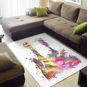 Two Funky Guitars  Area Rugs,  Living room and bedroom Rug,  Floor Decor