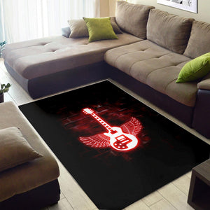 Winged Electric Guitar Printing Instrument Rug, Living Room Rug, Home Decor
