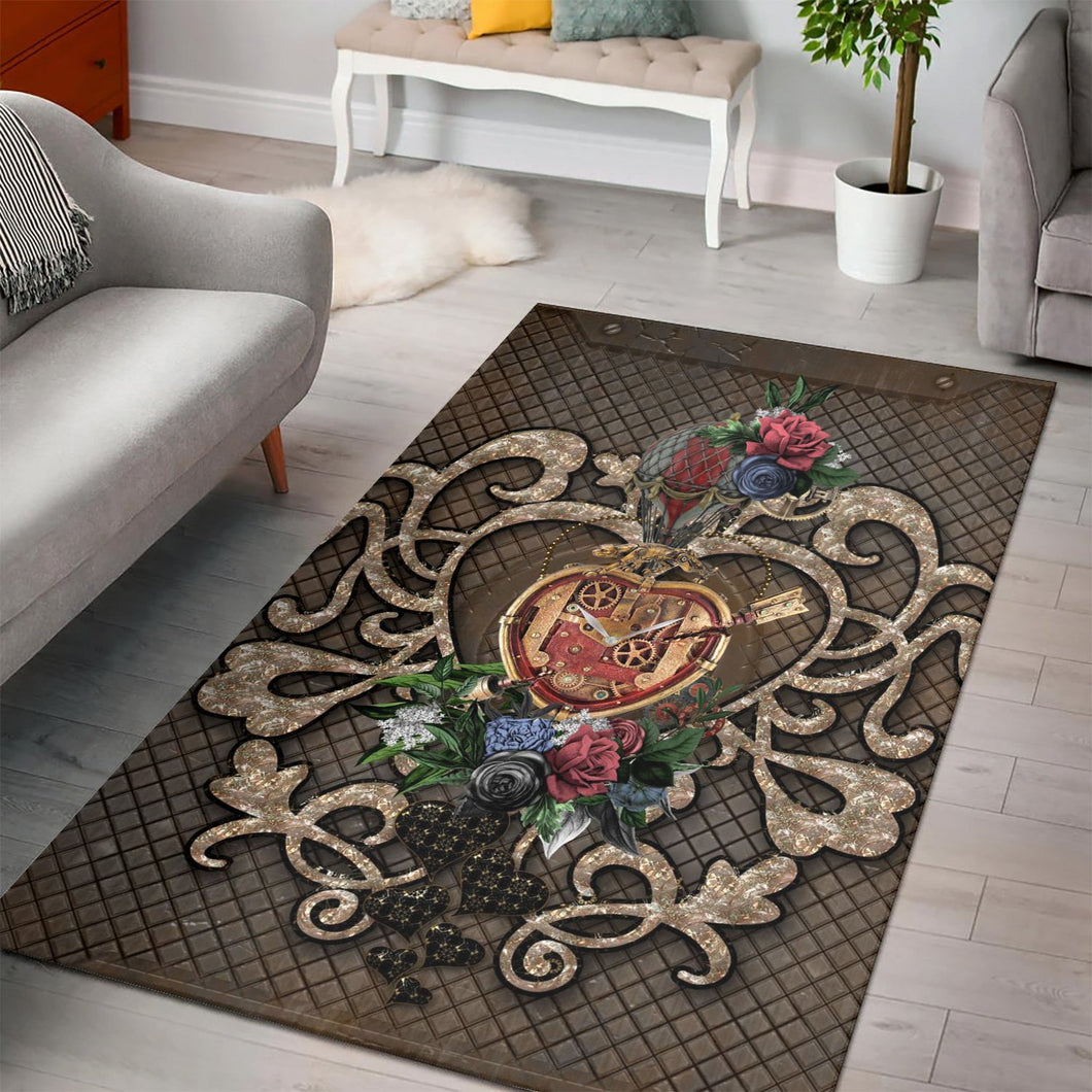 Wonderful Steampunk Hearts  Instrument Area Rug,  Gift for fans,  Halloween Gift