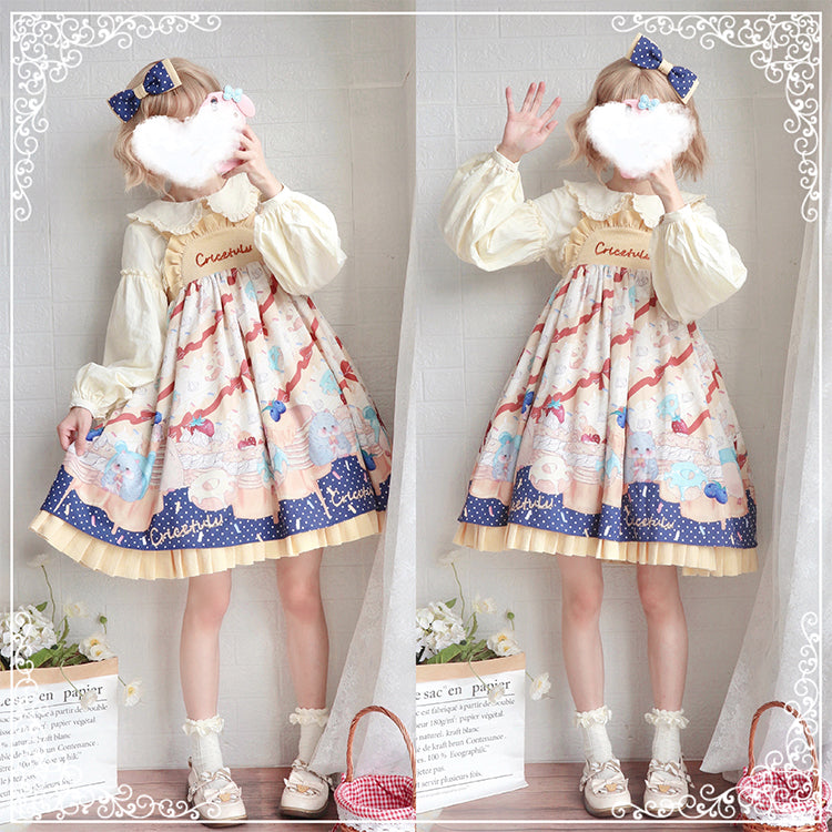 Cricetulus Embroidery Sweet Yellow Lolita Jumper Dress