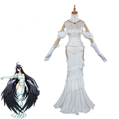 Albedo Overlord Cosplay Costume White Dress Costumes