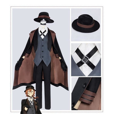 Anime Bungou Stray Dogs Cosplay Costume Chuya Nakahara Port Mafia For Men With Hat / S Costumes