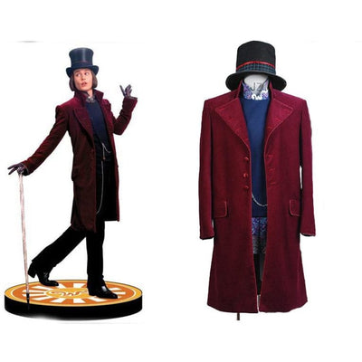 Charlie And The Chocolate Factory Cosplay Willy Wonka Costume A Full Set Uniform For Party Halloween