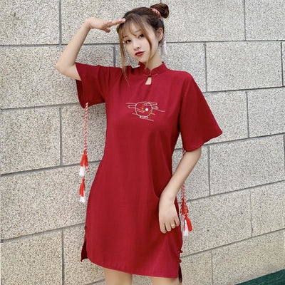 Cheongsam Statement Tassel Frog Embroidery Mandarin Collar Dress J40073