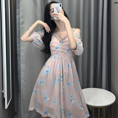 Countryside Floral Print Glitter Trimming Chiffon Off Shoulder Dress J40088