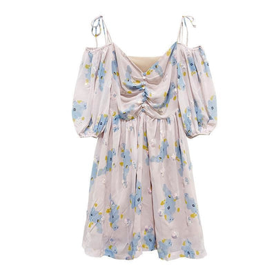 Countryside Floral Print Glitter Trimming Chiffon Off Shoulder Dress J40088 Blue Flower / Xs